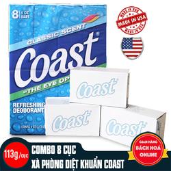 Lốc 8 cục xà phòng Coast Classic Scent Refreshing Deodorant Soap USA 113g/cục