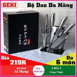 (Xả kho 3 Ngày - Miễn Phí Vận Chuyển toàn quốc) Bộ dao kéo làm bếp, BÔ DAO INOX Nhật Bản 6 MÓN CAO CẤP hơn Bộ dao 8 món, KÈM KHAY ĐỰNG và Dụng cụ mài dao