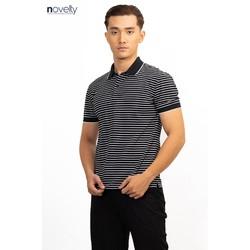 Áo polo nam Novelty dệt sọc màu đen sọc trắng NATMSNMCSR191044N