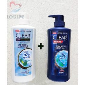 Combo 2 chai dầu gội Clear bạc hà 480ml+ Clear Men 450ml Thái Lan phiên bản giới hạn 2020 [có thể chọn] - ComboClear2