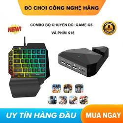 [ COMBO ] Bộ chuyển đổi game  FREEWOLE G5 Và Phím K15 hỗ trợ chơi game PUBG Mobile cho Android, iPhone, iPad như PC không bị khóa nick ( rezar p30, handjoy d4, ipega 9116, gamesir x1 )