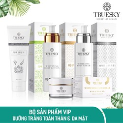 Bộ Truesky VIP08 gồm 1 kem ủ trắng body & 1 kem dưỡng trắng da mặt & 1 sữa rửa mặt trắng da & 1 kem dưỡng trắng body