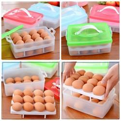 [Freeship] Hộp đựng trứng 2 tầng loại đẹp có tay cầm - Hộp đựng trứng tiện lợi 24 ô