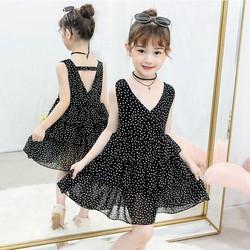 Đầm bé gái chấm bi xếp tầng