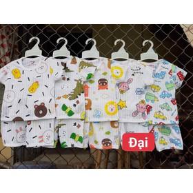 bộ quần áo cộc cài vai chất cotton giấy cho bé size đại 16 đến 25kg - bộ ct giấy cài vai đại khuy vai