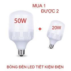 BÓNG ĐÈN LED-BỘ 2 Bóng Đèn Led  Nhựa Mica 50w +20W Siêu Tiết kiệm Điện (Không tỏa nhiệt)