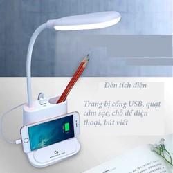Đèn học chống cận kèm quạt mini sạc USB