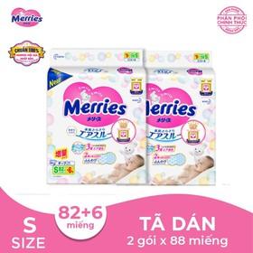 [Combo 2 Gói] Tã - Bỉm dán Merries S82 + 6 miếng dành cho bé từ 4 -8kg - Combo2gois86
