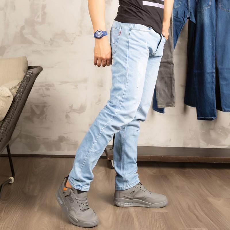 Quần jeans nam xanh bạc cào rách BM153 – tl153