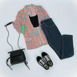 Áo khoác jacket nữ tay lửng họa tiết sành điệu LD6JK712 LeShop