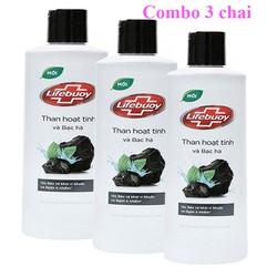 [COMBO 3] Sữa tắm Lifebuoy Than tre bạc hà Diệt khuẩn,kiềm nhờn,ngăn ngừa mụn,trắng da [200g]