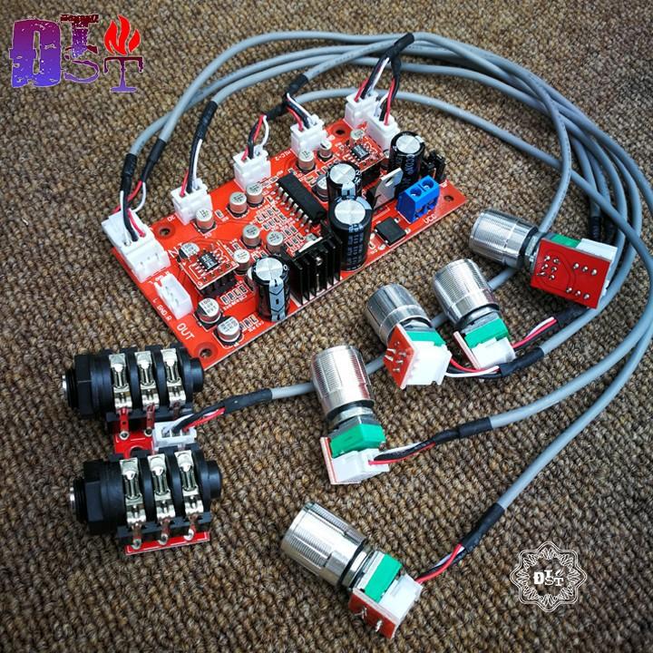 Mạch echo PT2399 liền music OP275 12V AC DC cho loa kéo - Bản cao cấp