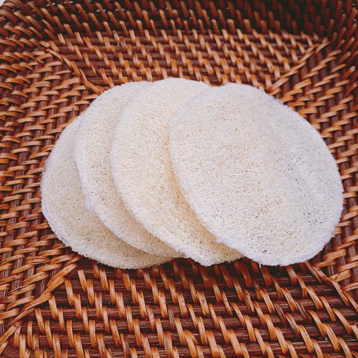 Miếng xơ mướp rửa mặt ECOLIFE KOREA tẩy trang, massage, làm sạch tặng xà phòng Noni - Loofah Facial Massage