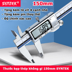 Thước kẹp điện tử thép không gỉ Syntek 150mm có logo