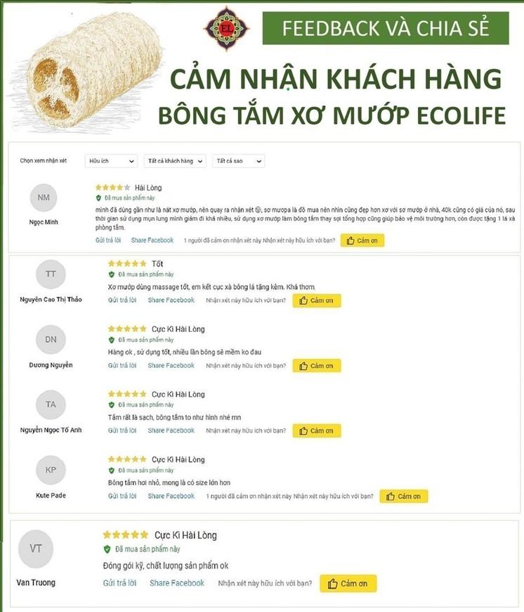 Xơ mướp trái ECOLIFE KOREA ( 20 - 25 cm ) combo 5 tặng xà phòng handmade Noni - Natural Raw Loofah Sponge