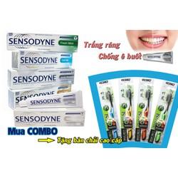 Combo 5 hộp kem đánh răng sensodyne tặng 5 bàn chải than hoạt tính hàn quốc