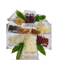 Combo 400gr nguyên liệu nấu Chè Dưỡng Nhan (chè tuyết yến -11 vị như hình)