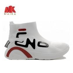 Giày sneaker thể thao nữ cao cổ MKS185WH TRẮNG cá tính mạnh mẽ, thời trang mới, phù hợp đi học, du lịch, dạo phố, cổ cao, đế bằng MK MAIKA