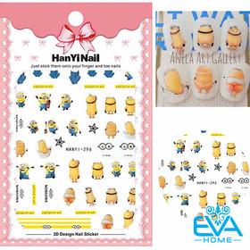 Miếng Dán Móng Tay 3D Nail Sticker Tráng Trí Hoạ Tiết Hoạt Hình Hình Minions Cute HY296 - 0012002539