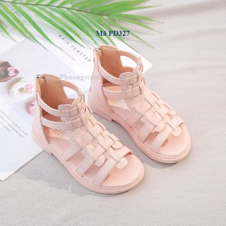 Giày sandal cho bé gái kiểu chiến binh da mềm từ 3 - 12 tuổi - PD327