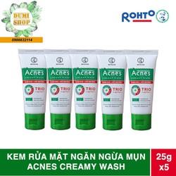 Combo 5 tuýp kem rửa mặt Acnes Creamy Wash ngăn ngừa mụn tuýp 25g