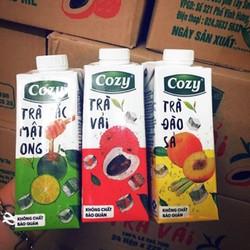 Mix Thùng 24 Hộp Trà Cozy Đào , Tắc , Vải 225ml x 24 hộp.