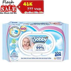 Khăn Ướt Em Bé Bobby Không Mùi - Gói nắp Nhựa 100 Miếng - BB100K