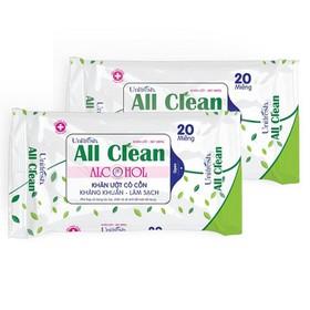 Combo 3 gói khăn ướt sạch khuẩn Unifresh Alcohol 20 tờ - khăn ướt có cồn - ALCO9