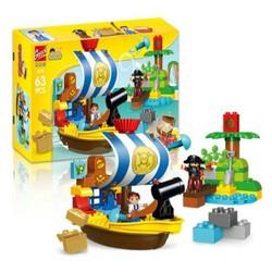 Bộ lắp ghép Gorock 1018   cướp biển và thuyền trưởng Jack tương thích với Lego' Duplo