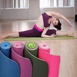Thảm Tập Thể Dục, Tập Gym, Yoga, Chất Liệu TPE Dày 6mm 2 Lớp Cao Cấp