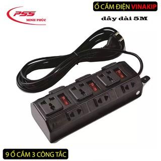Ổ cắm điện đa năng nhiều ổ cắm , công tắc tiện dụng an toàn( 9 ngả 5 mét) - ổ cắm 9 ngả 3 công tắc 5M thumbnail