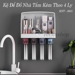 Kệ nhà tắm để đồ có nắp đậy dán tường - hộp đựng kem đánh răng, bàn chải KNT-8001