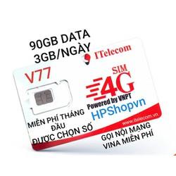 SIM ITELECOM V77 VINAPHONE 90GB DATA GỌI NỘI MẠNG MIỄN PHÍ FREE THÁNG ĐẦU