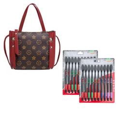 Túi đeo và xách tay nữ họa tiết hoa + Tặng Bộ 1 vỉ Bàn Chải Đánh Răng chống vi khuẩn 10 Bàn Chải (Than hoạt tính) HNK