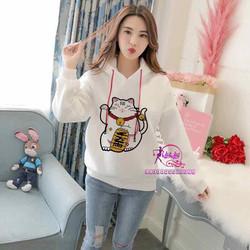 Áo hoodie nữ in hình mèo