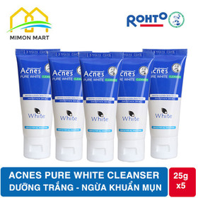 Combo 5 tuýp sữa rửa mặt dưỡng trắng Acnes Pure White Cleanser 25g - 5ACNES PURE