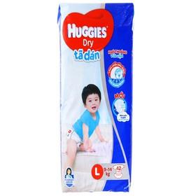 Tã dán Huggies Dry size L 42 miếng (cho bé 9 - 14kg) - Tã dán Huggies Dry size L