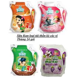 Sữa Kun túi thần kì 110ml thùng 24 gói các vị
