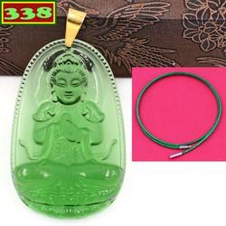 Vòng cổ mặt Phật Đại nhật như lai pha lê xanh lá 3.6 cm - Hộ mệnh tuổi Mùi, Thân - Dây cao su xanh lá