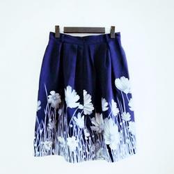 Chân váy xòe hoa xanh coban CVH250HX