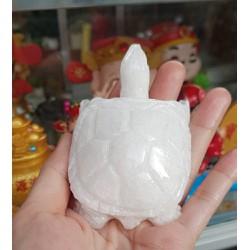 Cụ Rùa đá thiên nhiên 8cm màu trắng