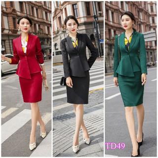 Set nguyên bộ áo vest 2 lớp chân váy TD49 - TD49 thumbnail