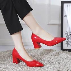 Giày Cao Gót đỏ đô phối đen