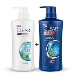 Combo 2 chai dầu gội Clear bạc hà + Clear men Thái Lan - chai dầu gội Clear bạc hà + Clear