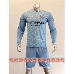 Bộ quần áo bóng đá CLB MAN CITY Tay Dài màu Xanh Da đồ đá banh mới 2020-2021