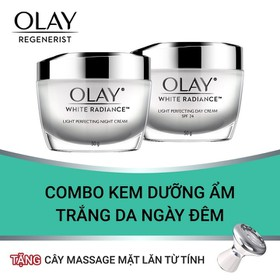[Tặng Cây Massage Mặt Lăn Từ Tính Cao Cấp] Combo Kem Dưỡng Ẩm Trắng Da Ngày Đêm Olay White Radiance 50g - TUOL0031CB