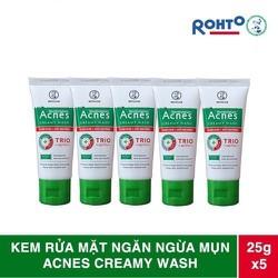 [TẶNG 15K PHÍ SHIP] COMBO 5 Tuýp Sữa rửa mặt Acnes Creamy Wash ngăn ngừa mụn tuýp 25g