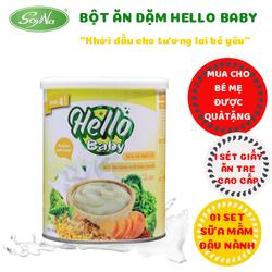 [NHẬP SD3K6C CHỈ CÒN 84K] - Bột ăn dặm Hello Baby vị ngọt 350gr- Nguyên liệu 100% nhập khẩu từ Newzeland, đã được kiểm nghiệm vệ sinh an toàn thực phẩm-Giúp bé bổ sung dinh dưỡng và tăng cường hệ miễn  dịch trong quá trình phát triển của bé