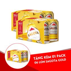 [Mua 2 pack Tặng 1 pack] Bia Sagota Gold - Pack 6 lon 330ml