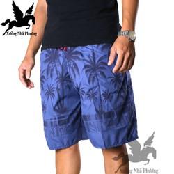 Quần đùi nam loại cây dừa vải dù mặc ở nhà đi chơi biển free size từ dưới 80kg